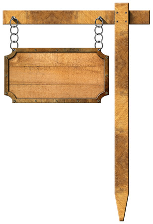 Empty rectangular wooden sign with metallic brown frame hanging with metal chain on a wooden pole isolated on a white background