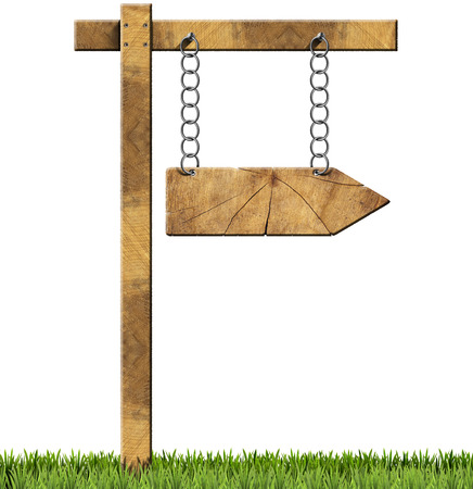 directional sign: Wooden directional sign with one empty arrow hanging with metal chain on a wooden pole and isolated on a white background with green grass