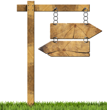 directional sign: Wooden directional sign with two empty arrows in opposite direction hanging with a metal chain on a wooden pole and isolated on a white background with green grass
