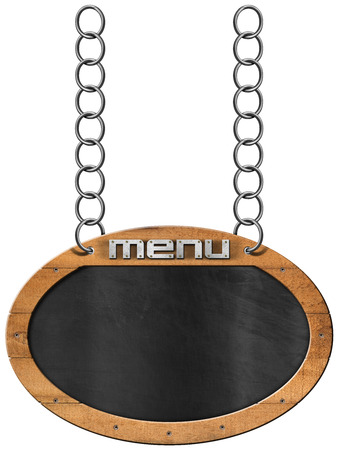 chain food: Oval empty blackboard with wooden frame and text menu hanging from a metal chain and isolated on white background. Template for a food menu Stock Photo