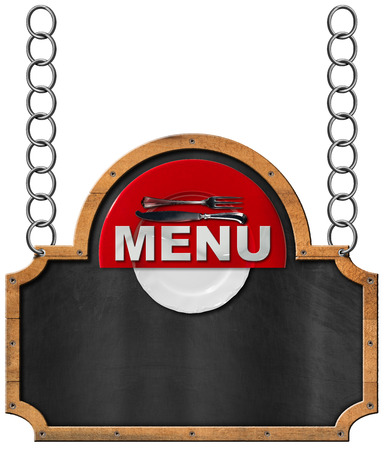 Empty blackboard with wooden frame red and white plate silver cutlery and text menu hanging from a metal chain and isolated on white background photo