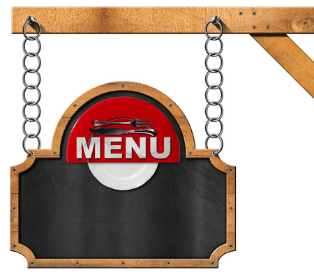 Empty blackboard with wooden frame red and white plate silver cutlery and text menu hanging from a metal chain on a pole and isolated on white photo