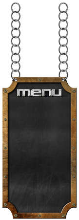 chain food: Empty blackboard with metallic frame and text menu hanging from a metal chain and isolated on white background. Template for a food menu Stock Photo