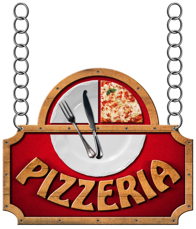 Sign with wooden frame and text pizzeria white plate with a slice of pizza and silver cutlery. Hanging on a metal chain and isolated on a white background photo