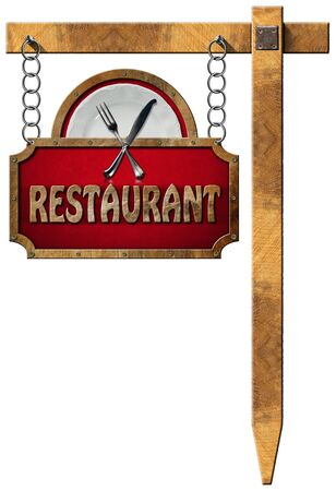 Restaurant sign with metal frame white plate with silver cutlery. Hanging from a metal chain on a wooden pole and isolated on a white photo