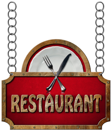 chain food: Restaurant sign with metal frame white plate with silver cutlery. Hanging from a metal chain and isolated on a white background Stock Photo