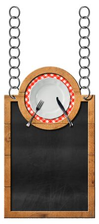 chain food: Empty blackboard with wooden frame and white plate with cutlery hanging from a metal chain and isolated on white. Template for a food menu