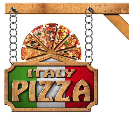 metal cutting: Wooden sign with frame and text Italy pizza slices of pizza on cutting board. Hanging from a metal chain on wooden pole and isolated on white