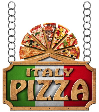 metal cutting: Wooden sign with frame and text Italy pizza slices of pizza on cutting board. Hanging on a metal chain and isolated on a white background Stock Photo
