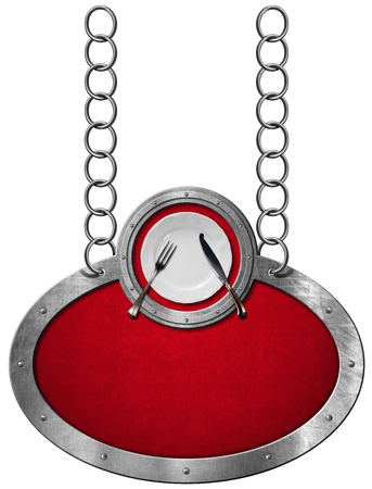 red velvet: Oval metallic sign with red velvet and frame white empty plate with silver cutlery. Hanging from a metal chain and isolated on a white