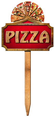 Wooden sign with metal frame and wooden text pizza slices of pizza on cutting board. Hanging on a wooden pole and isolated on a white background photo