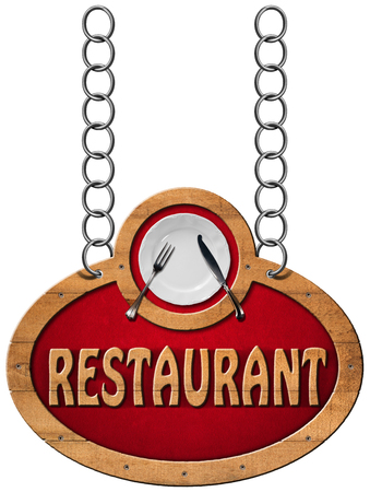 chain food: Wooden sign with frame white plate with silver cutlery and text restaurant. Hanging from a metal chain and isolated on a white