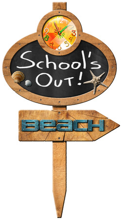 directional sign: Oval blackboard with a clock and text Schools Out seashells and starfish wooden directional sign with text beach. isolated on white background