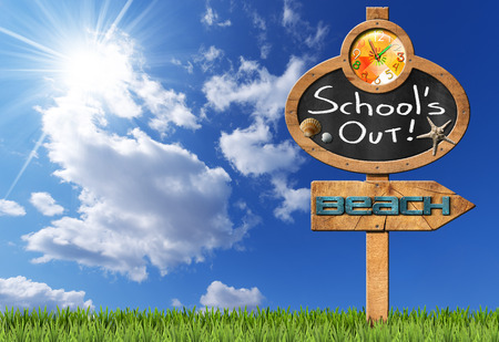 Blackboard with a clock and text School's Out seashells and starfish wooden directional sign with text beach. On blue sky with clouds and sun rays