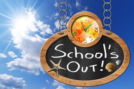 hanging out: Oval blackboard with a colorful clock and text Schools Out seashells and starfish. Hanging from a chain on blue sky with clouds and sun rays