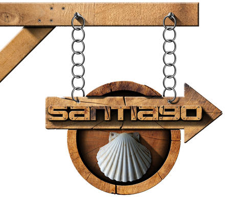 Pilgrimage wooden sign of Santiago de Compostela Camino de Santiago with an arrow and seashell. Hanging from a metal chain and isolated on white background photo