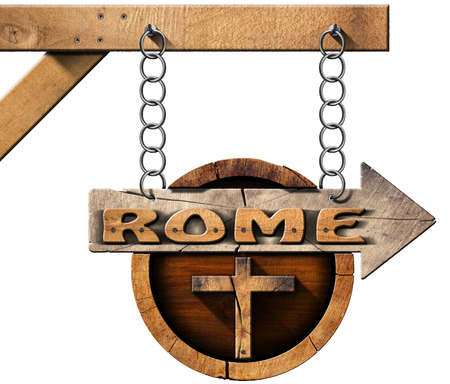 directional sign: Pilgrimage wooden directional sign of Rome with an arrow and religious cross. Hanging from a metal chain on a pole and isolated on white background Stock Photo