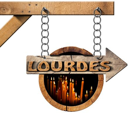 directional sign: Pilgrimage wooden directional sign of Lourdes with an arrow and votive candles. Hanging from a metal chain on a pole and isolated on white background Stock Photo
