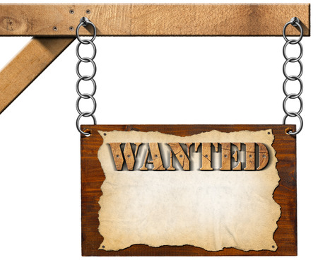 Dark wooden sign with torn empty parchment with text Wanted. Hanging from a metal chain on a wooden pole and isolated on white background photo