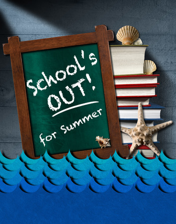 close out: Blackboard with wooden frame and text School is out for summer stack of books blue waves seashells and starfish on blue wooden wall Stock Photo