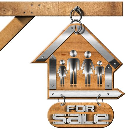 house for sale: Sign in the shape of house with symbol of a family and text For sale. Real estate sign hanging from a chain a pole and isolated on white