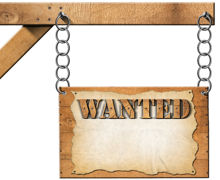 Wooden sign with planks and torn empty parchment with text Wanted. Hanging from a metal chain on a wooden pole and isolated on white background photo