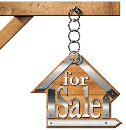 home owner: Wooden and metallic sign in the shape of house with text for sale. For sale real estate sign hanging from a chain a wooden pole and isolated on white