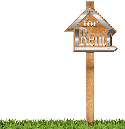 house for rent: Wooden and metallic sign in the shape of house with text for rent and wooden pole. For rent real estate sign isolated on white background with green grass