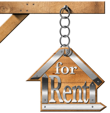 renting: Wooden and metallic sign in the shape of house with text for rent. For rent real estate sign hanging from a chain a wooden pole and isolated on white