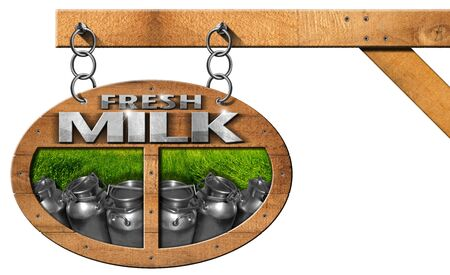 steel  milk: Wooden sign with text Fresh milk steel cans for the transport of milk on green grass. Hanging from a metal chain on a pole and isolated on white