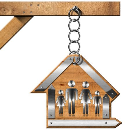 Wooden and metallic sign in the shape of house with symbol of a family. Hanging from a metal chain on a wooden pole and isolated on white photo