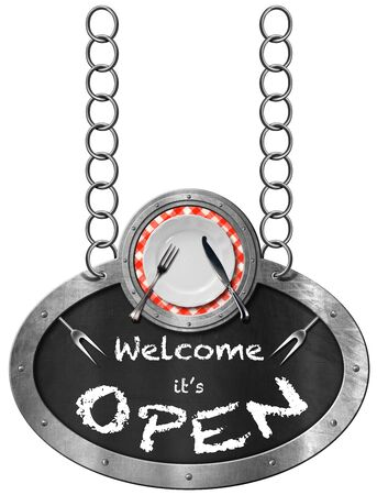 empty plate: Oval metallic sign with frame white empty plate silver cutlery and blackboard with text Welcome it is open. Hanging from a metal chain and isolated on a white Stock Photo