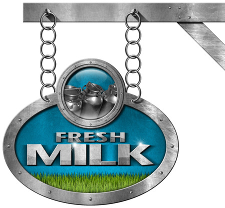 steel  milk: Metallic sign with text Fresh milk steel cans for the transport of milk and a green grass. Hanging from a metal chain on a pole and isolated on white background Stock Photo