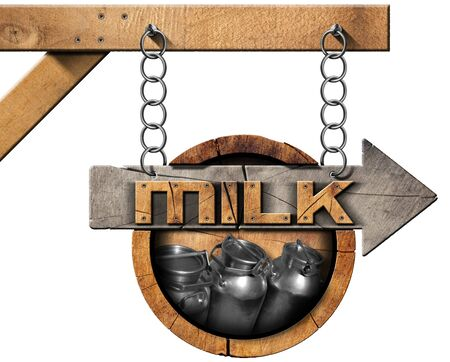 milk cans: Wooden sign with directional arrow with text Milk and steel cans for the transport of milk. Hanging from a metal chain on a pole and isolated on white
