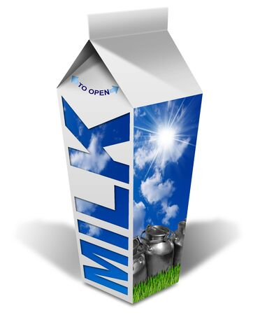 steel  milk: White packaging of fresh milk Milk with text blue sky with clouds and sun rays steel cans for the transport of milk green grass. Isolated on white background