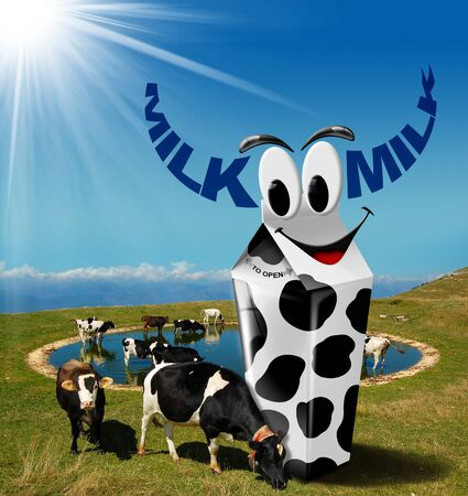 Cows grazing in the mountains with white carton milk with black spots and text milk in the shape of horns. Fresh milk concept photo