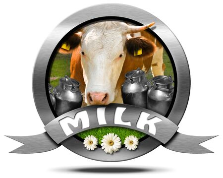 s horn: Metallic round icon or symbol with head of cow cans for the transport of milk green grass and three daisy flowers. Isolated on white background Stock Photo