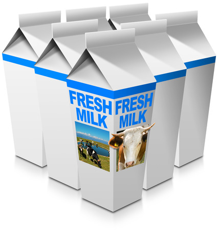 grazing: Group of milk packaging with text Fresh milk head of cow with horns and a herd of spotted cows grazing. Isolated on white background Stock Photo