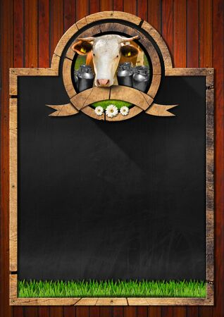 grass close up: Empty blackboard with frame and symbol with head of cow cans for the transport of milk green grass and daisy flowers. Template for a dairy products