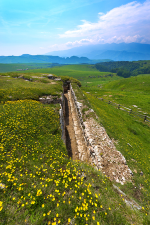 trenches: Ancient trenches of World war one in the Regional Natural Park of Lessinia Veneto Verona Italy