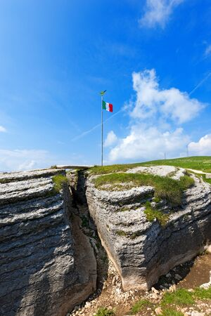 world war one: Ancient trenches of World war one in the Regional Natural Park of Lessinia Veneto Verona Italy