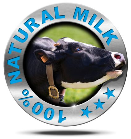 bellow: Metallic round icon or symbol with head of cow and text 100  natural milk. Isolated on white background