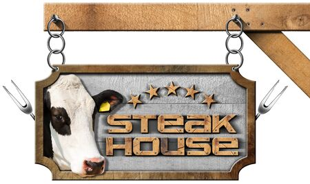 five stars: Wooden and metallic sign with text Steak House five stars head of cow and forks. Hanging from a metal chain and isolated on white background