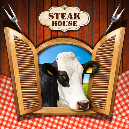 checkered label: Wooden wall with checkered tablecloth and an open window with a head of cow label with text Steak house and two steel forks.