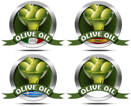 squeeze shape: Four icons or symbol with green olives and oil, Italian, Greek and Spanish flags. Text Olive oil on green ribbon. Isolated on white Stock Photo