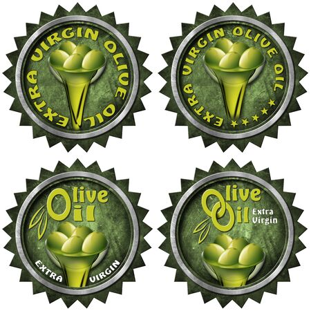 extra virgin olive oil: Collection of four labels with green olives and oil, text Extra virgin olive oil. Isolated on white background