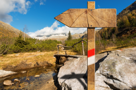 wooden trail sign: Wooden trail directional sign with one empty arrow in a blurred mountain landscape