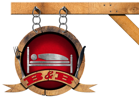 breakfast in bed: Wooden sign with text BB Bed and Breakfast and cutlery. Hanging from a metal chain and isolated on white background