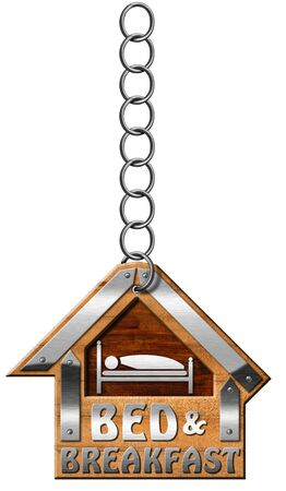 breakfast in bed: Wooden and metallic sign in the shape of house with text Bed and Breakfast. Hanging from a metal chain and isolated on white background