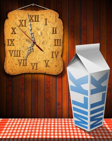 seven o'clock: Clock made with a rusk and white packaging of fresh milk with text Milk, on a table with tablecloth and wooden wall Stock Photo